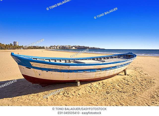 Salou beach Llevant boats Levante platja in Tarragona of Catalonia