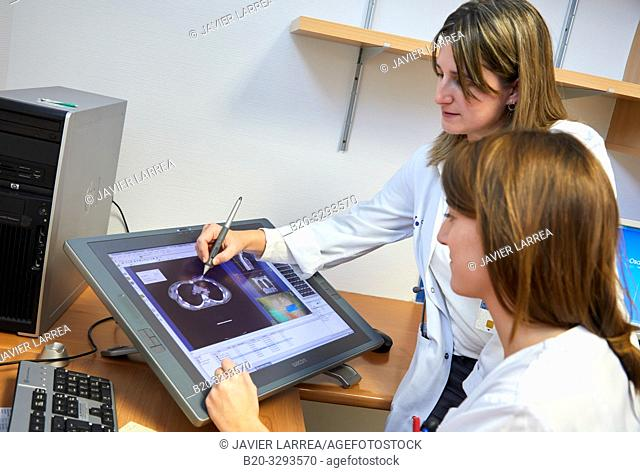 Doctors studying radiotherapy treatment, Oncology, Hospital Donostia, San Sebastian, Gipuzkoa, Basque Country, Spain
