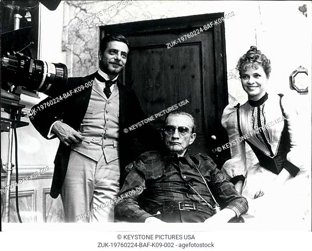Feb. 24, 1976 - Here is Luchino Visconti with Laura Antonelli and Giancarlo Giannini on the set of 'The Innocent. (Credit Image: © Keystone Press...