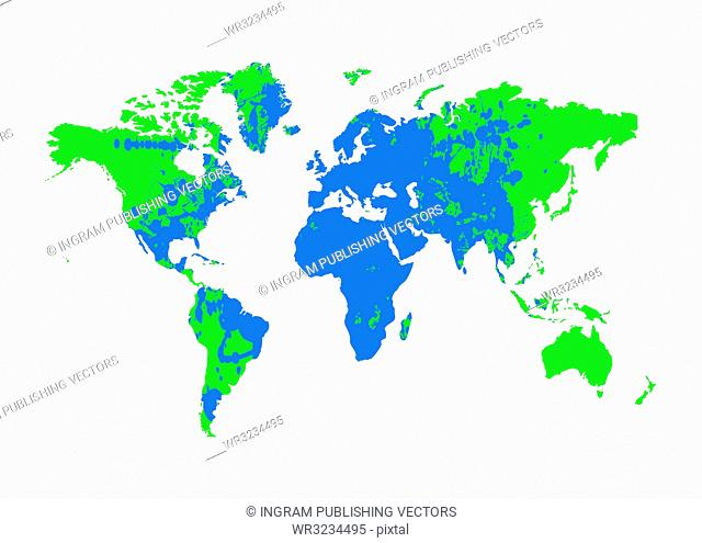 Grunge blue and green earth map with ink splat elements