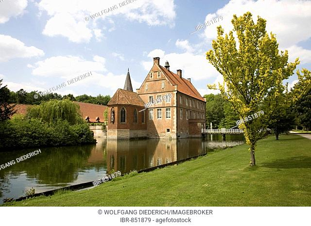 House of Lords, built 1540-1545, Wasserburg Huelshoff, the poet Annette von Huelshoff was born here, Havixbeck, Muensterland, North Rhine-Westphalia, Germany