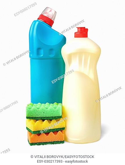 Detergent and sponges isolated on white background