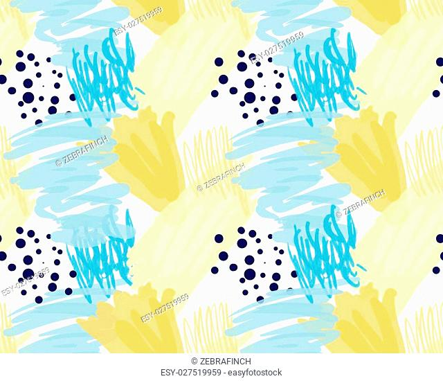 Abstract blue and yellow with black dots.Hand drawn with paint brush seamless background.Modern hipster style design