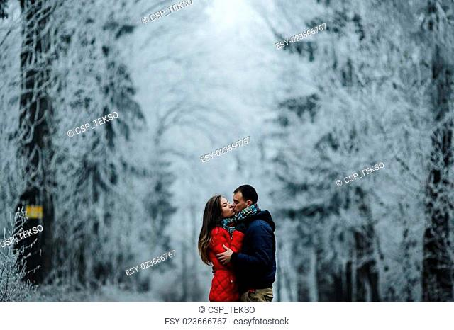 couple walking on a winter park