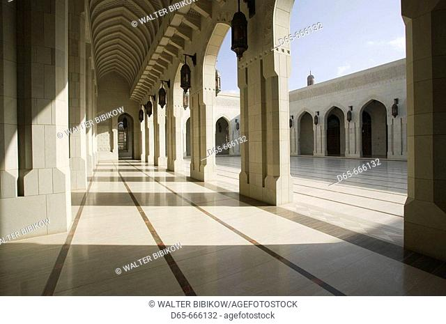 OMAN-Muscat-Al-Ghubrah: Grand Mosque-Arches by Main Hall