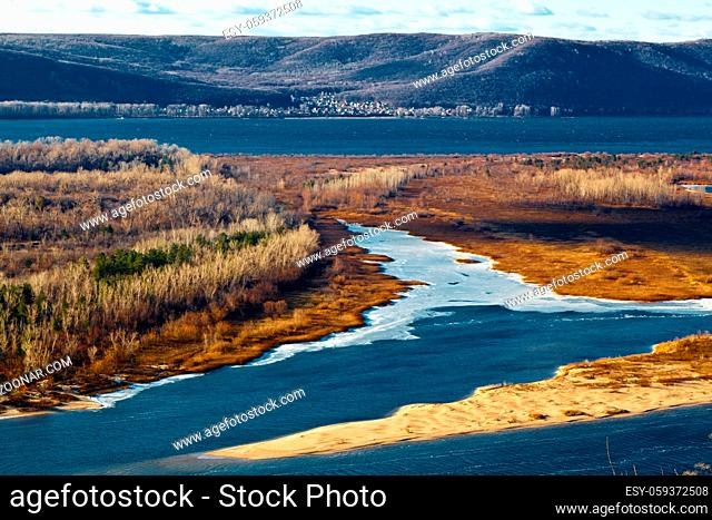 Panoramic View of Volga River Bend near Samara, Russia