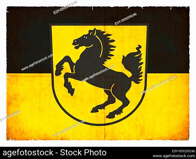 Flag of the German town Stuttgart (Baden-Wuerttemberg, Germany) created in grunge style