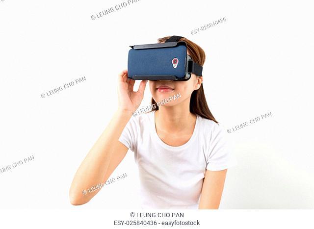 Woman watch movie via VR device