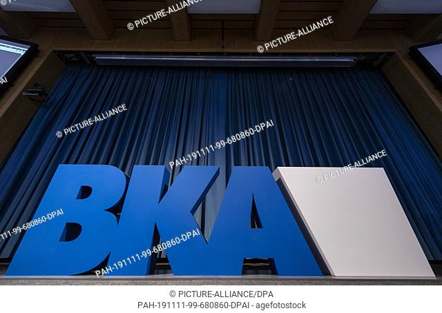"""11 November 2019, Hessen, Wiesbaden: As part of the presentation of the """"""""Bundeslagebildes Cybercrime"""""""" at the BKA, the lettering """"""""BKA"""""""" stands in front of a..."""