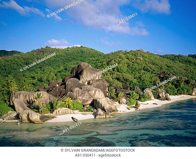 Aerial of Anse Source d'Argent beach and rocks. La Digue. Seychelles