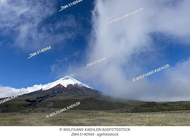 View from the Cotopaxi National Park of Cotopaxi volcano (5, 897 meter, 19347 feet high), an active stratovolcano in the Andes Mountains near Quito, Ecuador