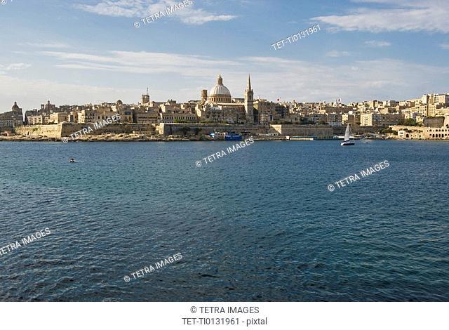 Senglea Point in distance, Valleta, Malta