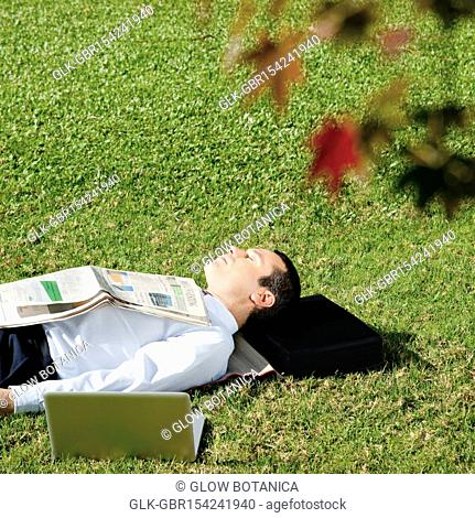 Businessman sleeping in a park with a laptop