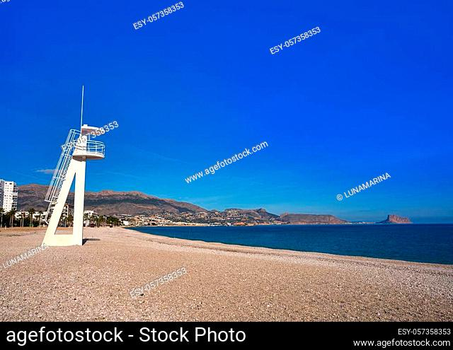 Albir beach in Alfas del Pi of Alicante Spain at Cota Blanca baywatch tower