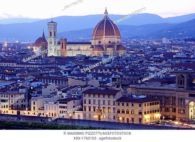 Santa Maria del Fiore Cathedral seen from Piazzale Michelangelo, Florence, Italy