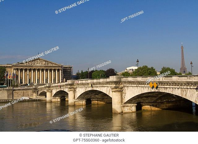 LA CONCORDE BRIDGE, NATIONAL ASSEMBLY (PARLIAMENT), PALAIS BOURBON, HOUSE OF REPRESENTATIVES, 7TH ARRONDISSEMENT, PARIS, FRANCE