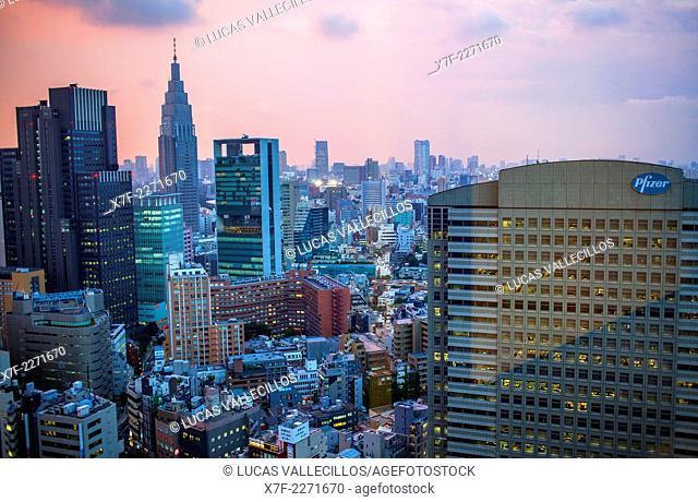 Shinjuku. Skyscrapers in Nishi Shinjuku.At left NTT DoCoMo Yoyogi Building.Tokyo city, Japan, Asia