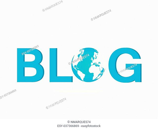 Illustration of the word BLOG with earth globe isolated on a white background