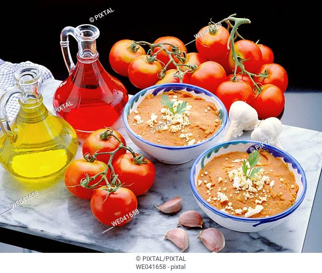 'Salmorejo' soup based on tomato and bread, originating in Córdoba (Spain)