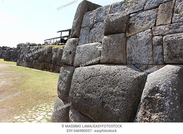 Ruins of the Inca Fortress of Saqsaywaman outside Cuzco Peru