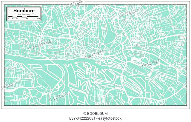 Hamburg Germany City Map in Retro Style. Outline Map. Vector Illustration