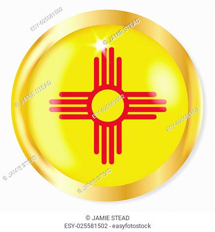 New Mexico state flag button with a gold metal circular border over a white background