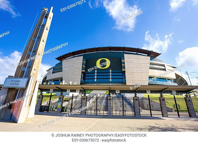 EUGENE, OR - MAY 7, 2017: Autzen Stadium on the University of Oregon campus on a sunny morning during the football off-season