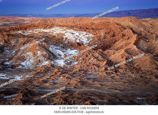 Chile, El Norte Grande, Antofagasta Region, Salar de Atacama, Valle de la Luna (Valley of the Moon), aerial view in daytime