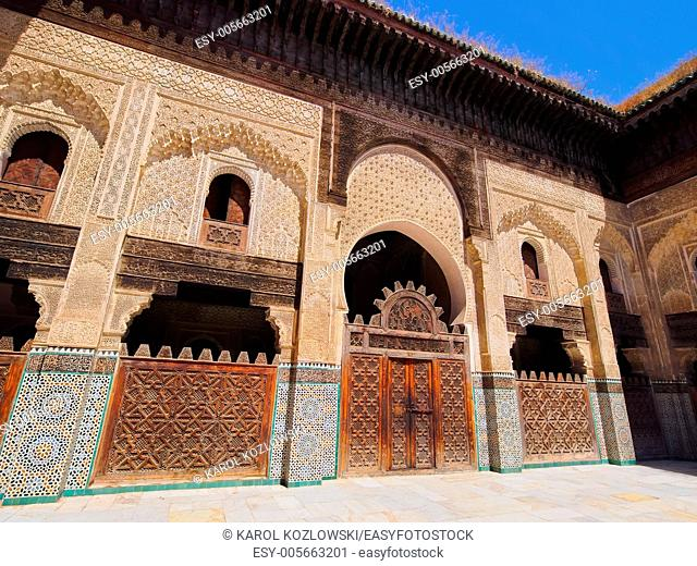 The Bou Inania Madrasa built by the Marinid sultan Abu Inan Faris in 1351 in the old medina of Fes, Morocco, Africa
