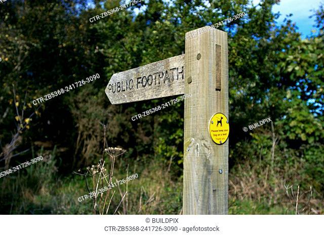 Public Footpath sign, England, UK