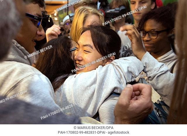 Schoolgirl Bivsi Rana arrives to the airport and is greeted by classmates in Dusseldorf, Germany, 02 August 2017. The schoolgirl and her family were deported to...