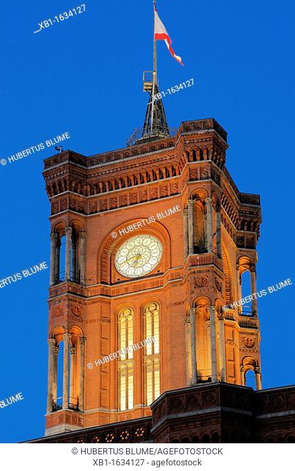 Red City Hall, Mitte, Alexanderplatz, Berlin, Germany, Europe