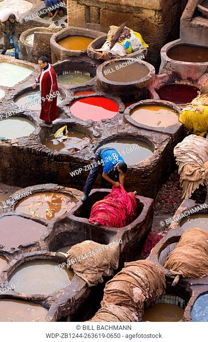 Fez Morocco old Tannery called Chouara Tannery which is almost 1000 years old from above of tannery vats with color dyes