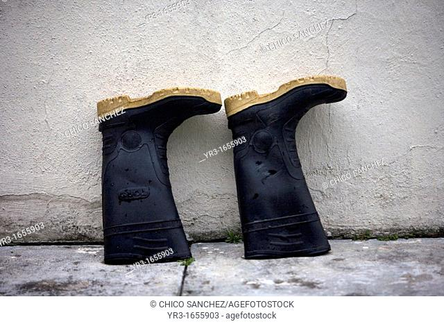 Boots dry outside a shelter in El Triunfo Biosphere Reserve in the Sierra Madre mountains, Chiapas state, Mexico