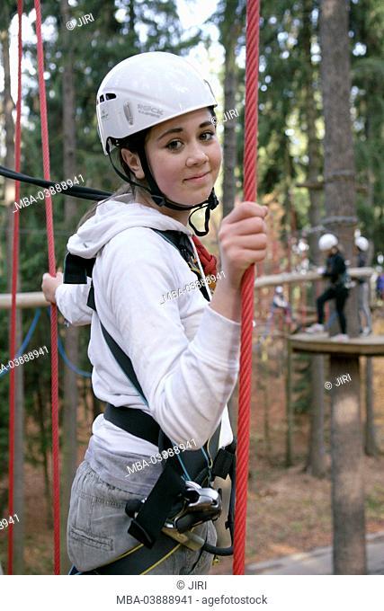 13 year-old girl, climbing park, Svat ý Linhart, Karlsbad, Czechia, Europe