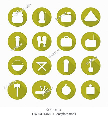 Set of silhouette pictogram camping equipment symbols and icons. Design elements. Illustration in flat style