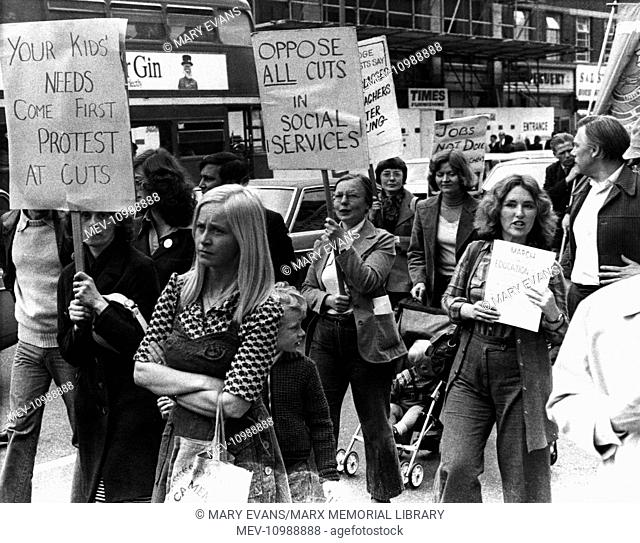People campaigning against cuts in education and social services, Ilford, Essex, 28 May 1976