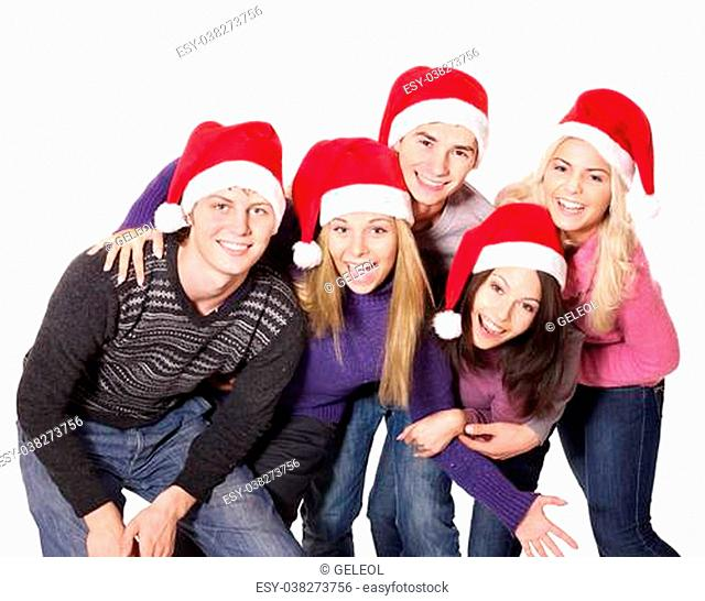 Group young people in santa hat. Isolated