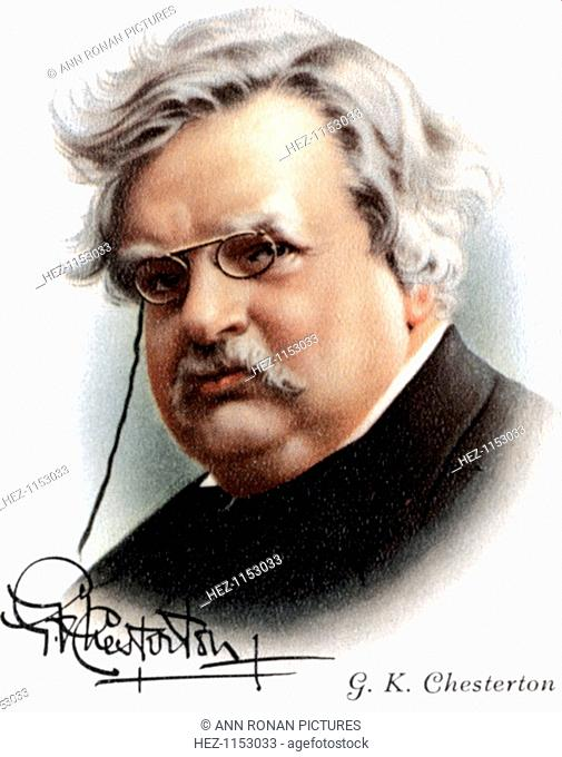 Gilbert Keith Chesterton (1874-1936), English novelist, poet and critic, 1927. GK Chesterton was the creator of the fictional detective Father Brown (1911)