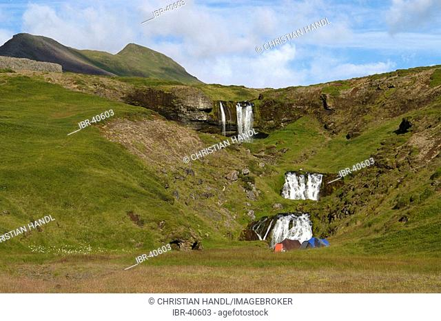 The waterfall Foss of the river Fossa Snæfellsnes peninsula Iceland