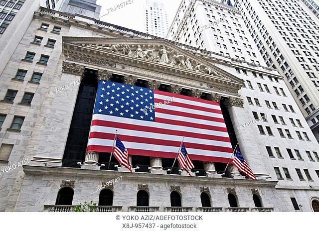 American flag on the New York Stock Exchange New York, United States of America