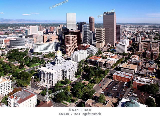 Aerial of the Colorado State Capitol Building and Denver Skyline
