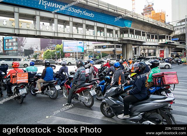motorbikr trafic at Sukhumvit in the city of Bangkok in Thailand in Southeastasia. Thailand, Bangkok, November, 2018