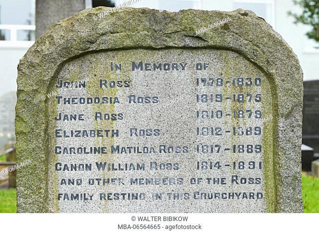 UK, Northern Ireland, County Londonderry, Limavady, home of the composer of Danny Boy, Jane Ross, 1810-1879, gravesite