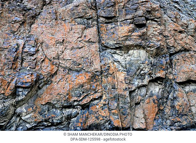 Stone texture; at Wakha village ; Leh ; Ladakh ; Jammu & Kashmir ; India