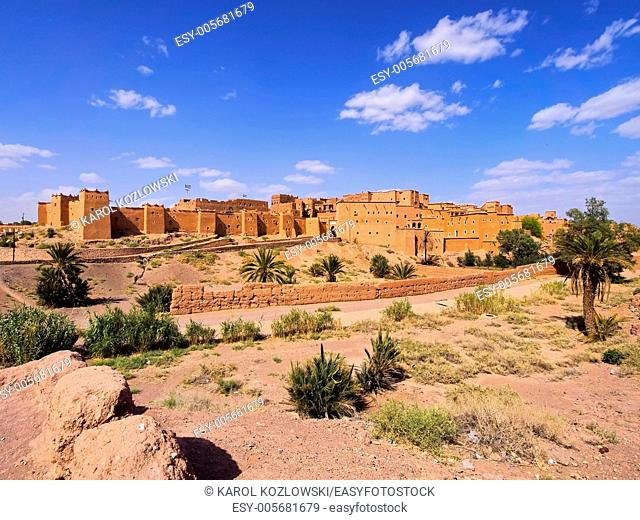 Kasbah Taourirt - adobe traditional building in eastern Ouarzazate, Morocco, Africa