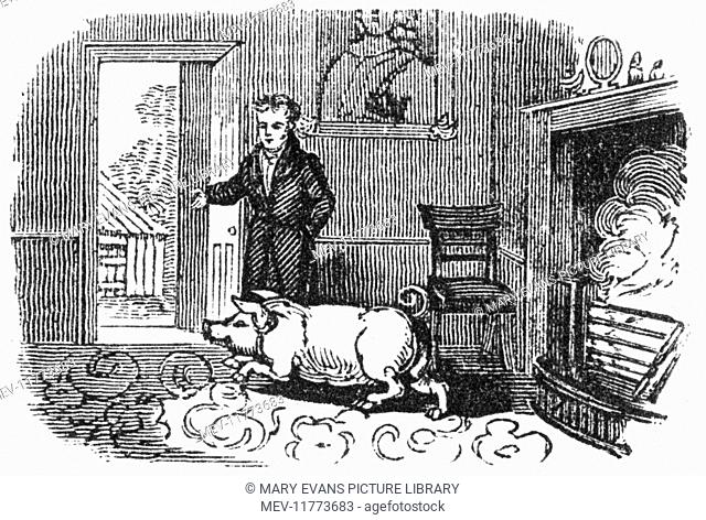 Man ushering a pig out of his house into the yard, c. 1800
