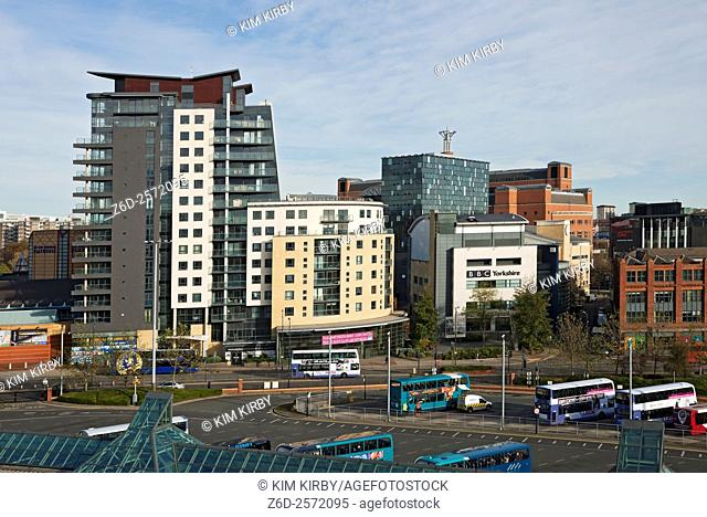Tower blocks and BBC Yorkshire St Peter's Square Leeds West Yorkshire England UK United Kingdom GB Great Britain