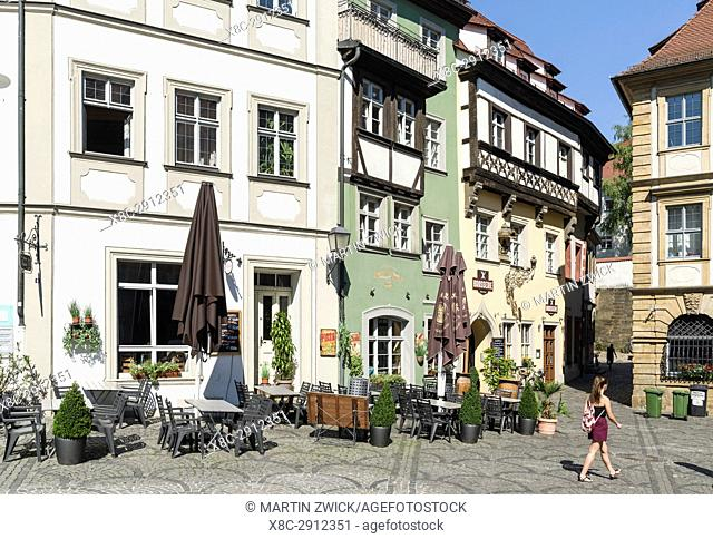 "The medieval houses and alleys in the Old Town. Bamberg in Franconia, a part of Bavaria. The Old Town is listed as UNESCO World Heritage """"Altstadt von..."