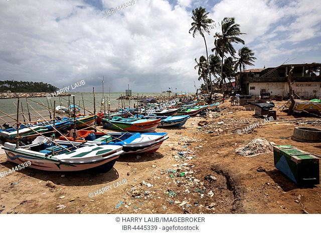 Fishing boats on beach, Beruwela, Western Province, Sri Lanka